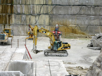 Track Hoe in the Limestone Quarry
